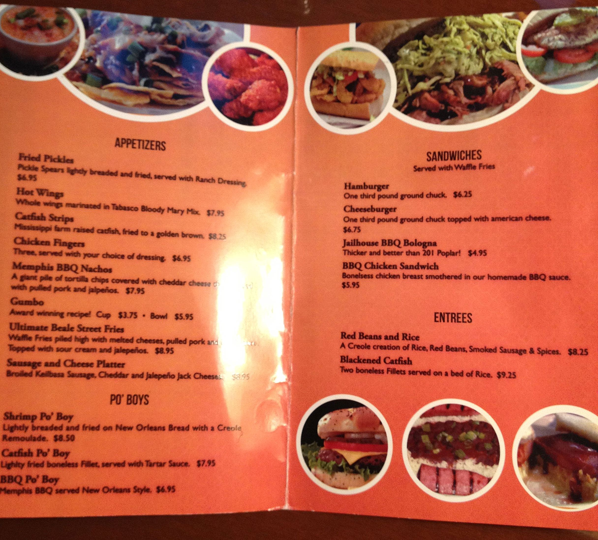 The menu (click to view larger, readable image)